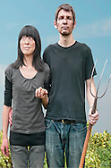 """Modern homage to the painting """"American Gothic"""""""
