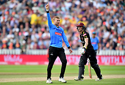 Sussex Sharks' Danny Briggs celebrates running out Somerset's Tom Abell (right) during the Vitality T20 Blast Semi Final match on Finals Day at Edgbaston, Birmingham.
