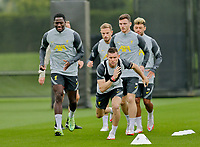 Football - 2021 / 2022 Champions League season - Group B - Liverpool versus AC Milan - Liverpool training - AXA Training Centre Kirkby - Tuesday 14th September 2021<br /> <br /> Ibrahima Konate, James Milner and Andy Robertson during today's open training session at the club's Axa Training Centre in Kirkby ahead of tomorrow's Champions League group match against Milan<br /> <br /> Credit: COLORSPORT