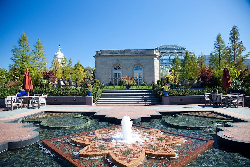 """The U.S. Botanic Garden's National Garden opened to the public on October 1, 2006. It provides """"living laboratories"""" for environmental, horticultural, and botanical education in a contemplative setting..The First Lady's Water Garden has an elegant pool and fountain in an intricate pattern of American granite and bluestone inspired by the Colonial-era quilt pattern known as """"Martha Washington."""""""