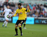 Miguel Britos of Watford in action. Premier league match, Swansea city v Watford at the Liberty Stadium in Swansea, South Wales on Saturday 22nd October 2016.<br /> pic by  Andrew Orchard, Andrew Orchard sports photography.