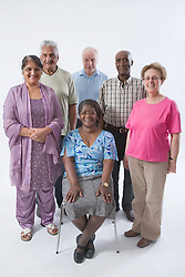 Multiracial group of older people smiling,