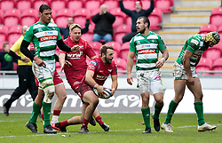 Scarlets' Paul Asquith celebrates scoring his sides fifth try<br /> <br /> Photographer Simon King/Replay Images<br /> <br /> EPCR Champions Cup Round 3 - Scarlets v Benetton Rugby - Saturday 9th December 2017 - Parc y Scarlets - Llanelli<br /> <br /> World Copyright © 2017 Replay Images. All rights reserved. info@replayimages.co.uk - www.replayimages.co.uk