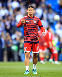 Bayern Munich's James Rodriguez gestures during the warm up