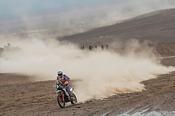 Laia Sanz (ESP) of Red Bull KTM Factory Team races during stage 04 of Rally Dakar 2019 from Arequipa to o Tacna, Peru on January 10, 2019 // Marcelo Maragni/Red Bull Content Pool // AP-1Y39E8CGS1W11 // Usage for editorial use only // Please go to www.redbullcontentpool.com for further information. //