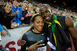 30.08.2012, Stadion Letzigrund, Zuerich, SUI, Leichtathletik, Weltklasse Zurich 2012, im Bild Sieger Usain Bolt (JAM), 200m Maenner und Sanya Richards-Ross (USA), 400m Huerden Frauen // during Athletics World Class Zurich 2012 at Letzigrund Stadium, Zurich, Switzerland on 2012/08/30. EXPA Pictures © 2012, PhotoCredit: EXPA/ Freshfocus/ Valeriano Di Domenico..***** ATTENTION - for AUT, SLO, CRO, SRB, BIH only *****