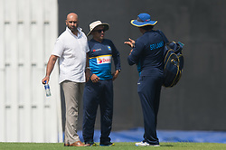 December 28, 2017 - Colombo, Western Province, Sri Lanka - Chairman of selection Graeme labrooy ( L) having a discussion with Chandika Hathurusigha (C) and fast bowling coach Romesh Rathnayake before the first practices session (Credit Image: © Sameera Peiris/Pacific Press via ZUMA Wire)