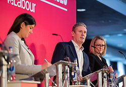 © Licensed to London News Pictures. 01/02/2020. Bristol, UK. LISA NANDY, KIER STARMER, REBECCA LONG-BAILEY, at the Labour Party Leadership Hustings, at Ashton Gate Stadium. Candidates: Emily Thornberry, Lisa Nandy, Kier Starmer, Rebecca Long-Bailey. Photo credit: Simon Chapman/LNP.