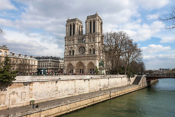 Low angle view of cathedral, Notre Dame Cathedral, Paris, France