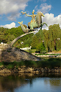 Statue over the River Raba at where it joins the Danube spur  - Gyor ( Gy?r ) Hungary .<br /> <br /> Visit our HUNGARY HISTORIC PLACES PHOTO COLLECTIONS for more photos to download or buy as wall art prints https://funkystock.photoshelter.com/gallery-collection/Pictures-Images-of-Hungary-Photos-of-Hungarian-Historic-Landmark-Sites/C0000Te8AnPgxjRg