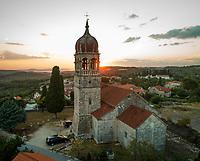 Aerial view of saint Fabijan and Sebastijan church in Donji Humac, Brac island, Croatia.