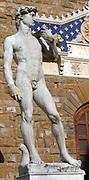 Copy of Michelangelo's (1475-1564) statue of David in the Piazza della Signoria, Florence, Italy. Male Nude