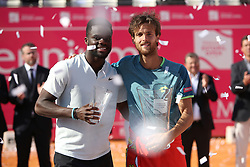 May 6, 2018 - Estoril, Portugal - Joao Sousa of Portugal (R ) and Frances Tiafoe of US pose with the trophys after the Millennium Estoril Open ATP 250 tennis tournament final, at the Clube de Tenis do Estoril in Estoril, Portugal on May 6, 2018. (Credit Image: © Pedro Fiuza via ZUMA Wire)