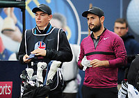 Golf - 2018 Sky Sports British Masters - Sunday, Fourth Round<br /> <br /> Edoardo Molinari of Italy, with his caddie at Walton Heath Golf Club.<br /> <br /> COLORSPORT/ANDREW COWIE