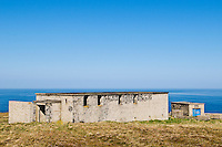 Abandoned military buildings overlook Pentland Firth at Dunnet Head, Scotland