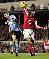 Fotball<br /> Premier League England 2004/2005<br /> Foto: SBI/Digitalsport<br /> NORWAY ONLY<br /> <br /> Arsenal v Manchester City<br /> <br /> 04/01/2005<br /> <br /> Arsenal's Thierry Henry near the goal against Manchester City's Ben Thatcher