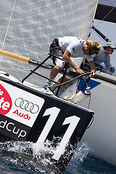 © Sander van der Borch. Alicante - Spain, May 12th 2009. AUDI MEDCUP in Marseille (12/17 May 2009). Practice Race. Pisco Sour boman preparing the gennaker at the top mark.