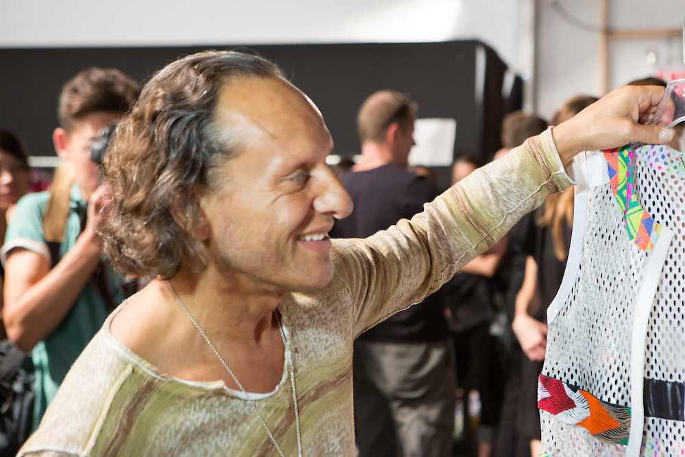 Designer Custo Dalmau of Custo Barcelona backstage prior to his Spring 2013 show at Fashion Week in New York.
