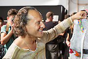 Designer Custo Dalmau of Custo Barcelona backstage prior to his Spring 2013 show at Fashion Week in New York.