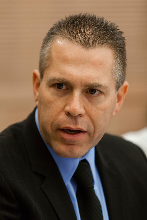 Israel's Minister of Communications Gilad Erdan attends a session of the Economic Affairs committee at the Knesset, Israel's parliament in Jerusalem, on July 8, 2013.