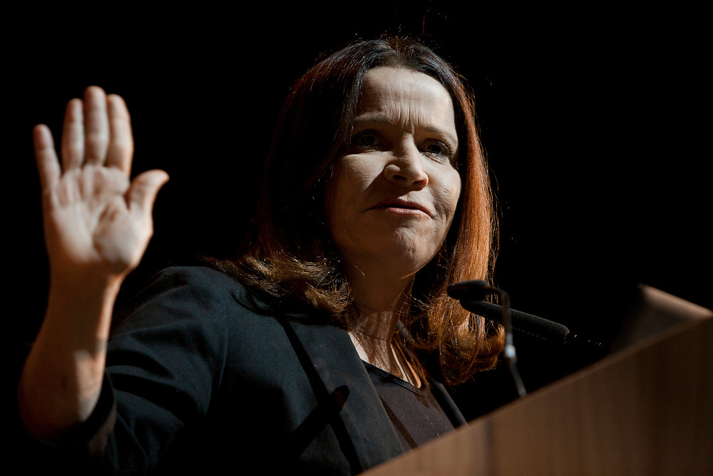 Israel's opposition leader and leader of the Israeli Labor party, Knesset Member Shelly Yachimovich speaks during the Israel 2021 Conference in Jerusalem, on May 23, 2012.