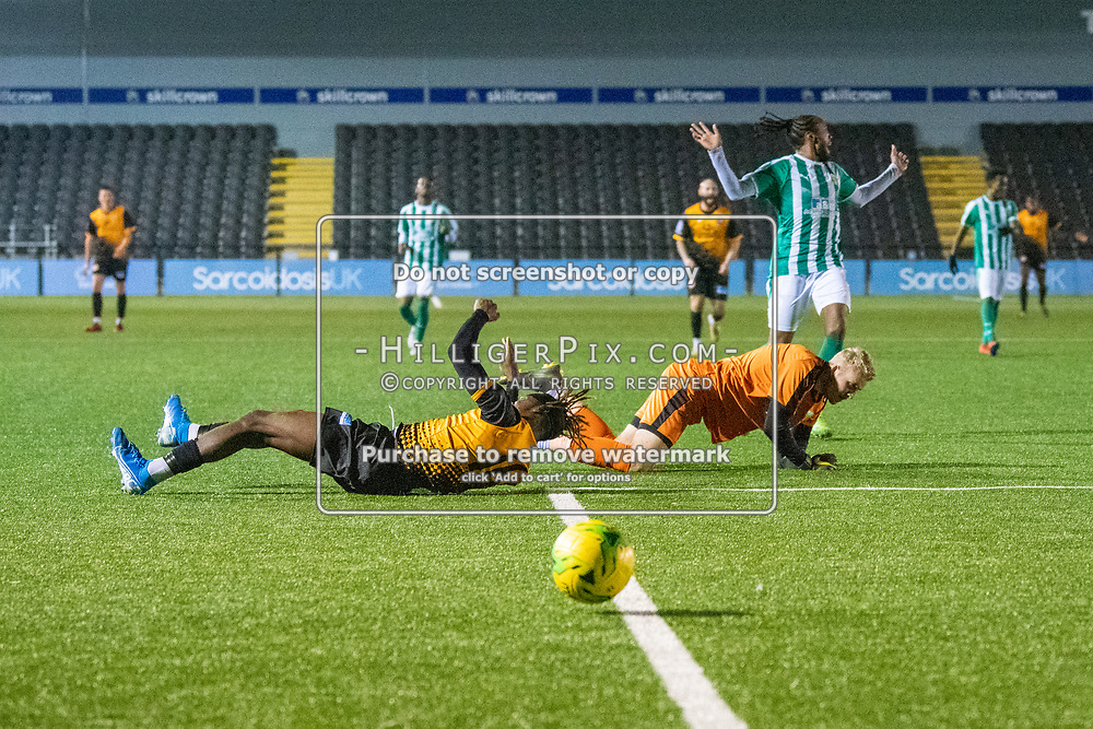 BROMLEY, UK - OCTOBER 30: Andre Coker, of Cray Wanderers FC, lies on the ground after being fouled during the Kent Senior Cup match between Cray Wanderers and VCD Athletic at Hayes Lane on October 30, 2019 in Bromley, UK. <br /> (Photo: Jon Hilliger)