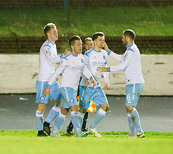 Forfar Athletic's Josh Peters celebrates after scoring their third goal. Cowdenbeath 3 v 4 Forfar Athletic, Scottish Football League Division Two game played 17/12/2016 at Central Park.