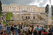 Saint Petersburg, Russia, 23/07/2005..Visitors at the palaces and gardens at Petrodvorets, formerly known as Peterhof.