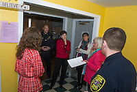 Shauna Bertwell Child and Family Advocate, Laconia Police Chief Chris Adams, Senator Jeanne Shaheen, Maureen McDonald NH Coalition against domestic and sexual violence, Kathy Keller Executive Director for New Beginnings and Lt Rich Simmons on a tour of New Beginnings on Friday afternoon.   (Karen Bobotas/for the Laconia Daily Sun)