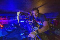 Matt with Colin Sinclair, feeding the sharks at Deep Sea World Loch Lomond.