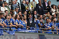 AFC Wimbledon goalkeeper Kelle Roos (29) lifting the trophy during the Sky Bet League 2 play off final match between AFC Wimbledon and Plymouth Argyle at Wembley Stadium, London, England on 30 May 2016.