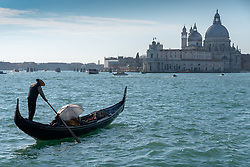 A view of Santa Maria della Salute commonly known simply as the Salute and a gondola in Venice. From a series of travel photos in Italy. Photo date: Wednesday, February 13, 2019. Photo credit should read: Richard Gray/EMPICS