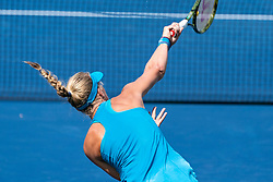 August 19, 2018 - Mason, OH, U.S. - CINCINNATI, OH - AUGUST 19:   Kiki Bertens of the Netherlands serves the ball to Simona Halep of Romania during the women's final on Day 8 of the Western and Southern Open at the Lindner Family Tennis Center on August 19, 2018 in Mason, Ohio. (Photo by Shelley Lipton/Icon Sportswire) (Credit Image: © Shelley Lipton/Icon SMI via ZUMA Press)