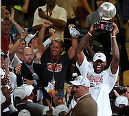 COPYRIGHT DAVID RICHARD.LeBron James holds up the Eastern Conference trophy after Cleveland's win over Detroit..Detroit Pistons at Cleveland Cavaliers in Game 6 of the NBA Eastern Conference Finals, June 2, 2007.