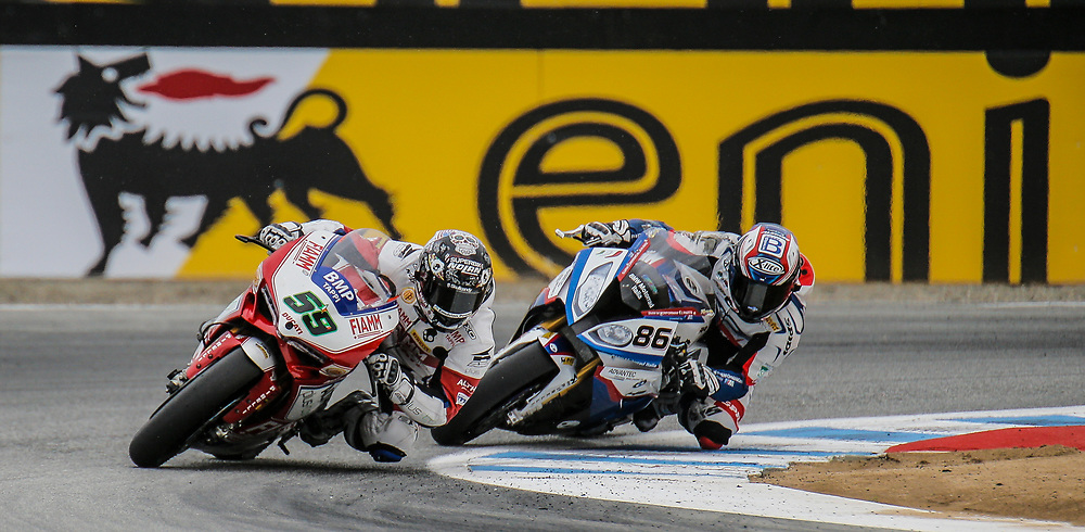 Jul 19 2015 Salinas, CA U.S.A. # 59 Niccolo Canepa and # 86 Ayrton Badovini coming out of turn 11 tries to catch up to the second pack during the eni FIM Superbike World Championship Laguna Sega Salinas, CA  Thurman James / CSM