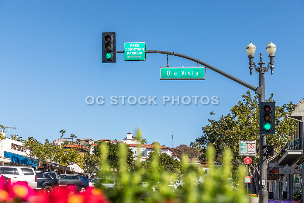 Ola Vista Street Light and Sign on Del Mar in Downtown San Clemente