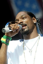 Snoop Doggy Dogg on the main stage on Sunday 10th July, 2005 at the two-day T in the Park festival, at Balado, Kinross-shire, Scotland..