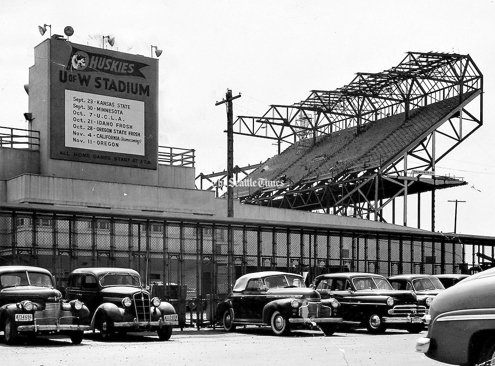 Construction view from ticket booths at Husky Stadium July 2, 1950. (Royal Crooks / The Seattle Times)