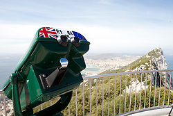 Pound and Euro. A panoramic view from the top of the Rock of Gibraltar looking north, looking towards Spain. Images of Gibraltar, the British overseas territory located on the southern end of the Iberian Peninsula at the entrance of the Mediterranean.