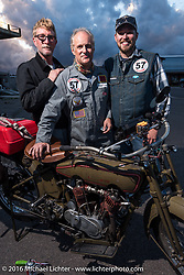 Harry Verkuil of Scotland poses with his team crew and his 1916 Model F class-3 Harley-Davidson in Williams during the Motorcycle Cannonball Race of the Century. Stage-12 ride from Page, AZ to Williams, AZ. USA. Thursday September 22, 2016. Photography ©2016 Michael Lichter.