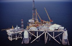 Stock photo of an offshore oil drilling rig