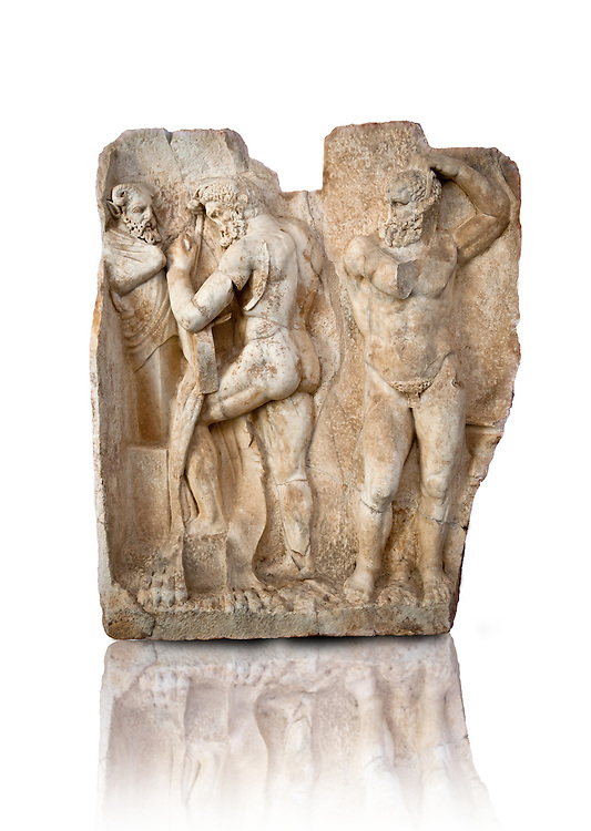 Photo of Roman relief sculpture, Aphrodisias, Turkey, Images of Roman art bas reliefs.  Herakles is preparing to wrestle the Libyan giant Antaios. Herakles (left) is taking off his bow case to hang it on a pillar statue. Antaios (right) is binding up his head with ear protectors, next to him stands an oil basin used in the palaistra (wrestling ground). Antaios was a famous wrestler who challenged and killed all visitors to his country, until he was defeated by Herakles. .<br /> <br /> If you prefer to buy from our ALAMY STOCK LIBRARY page at https://www.alamy.com/portfolio/paul-williams-funkystock/greco-roman-sculptures.html . Type -    Aphrodisias     - into LOWER SEARCH WITHIN GALLERY box - Refine search by adding a subject, place, background colour, museum etc.<br /> <br /> Visit our ROMAN WORLD PHOTO COLLECTIONS for more photos to download or buy as wall art prints https://funkystock.photoshelter.com/gallery-collection/The-Romans-Art-Artefacts-Antiquities-Historic-Sites-Pictures-Images/C0000r2uLJJo9_s0