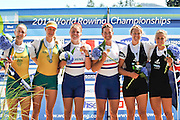Bled, SLOVENIA. GBR W2X, Bow Right, Anna WATKINS and Katherine GRAINGER, Gold Medalist Women's Doubles Sculls, 2011 FISA World Rowing Championships, Lake Bled. Saturday  03/09/2011  [Mandatory Credit;  Intersport Images]