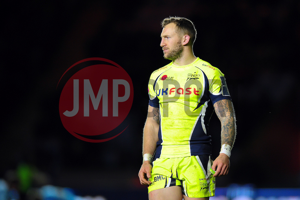 Byron McGuigan of Sale Sharks - Mandatory byline: Patrick Khachfe/JMP - 07966 386802 - 03/02/2017 - RUGBY UNION - The Twickenham Stoop - London, England - Harlequins v Sale Sharks - Anglo-Welsh Cup.