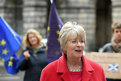 Pictured: Lawyer for the campaigners Elaine Motion speaks to the media after the Court decision.<br /> <br /> Judges at the Court of Session today deferred a decision on a bid by campaigners including SNP MP Joanna Cherry to force Prime Minister Boris Johnson to abide by the so called 'Benn Bill' and seek an extension to the October 31st Brexit date, and to rule that the Court itself can seek an extension.<br /> <br /> © Dave Johnston / EEm
