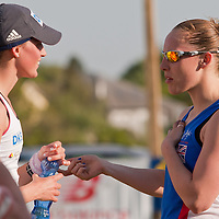 Competitors talk after completing the Modern Pentathlon Women's World Cup held in Budapest, Hungary on May 07, 2011. ATTILA VOLGYI