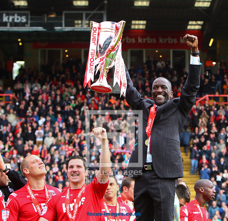 Picture by John Rainford/Focus Images Ltd. 07506 538356.05/05/12.Charlton Athletic celebrate the Npower League 1 title at The Valley stadium, London.