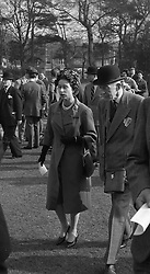 HM The Queen Elizabeth II  at the Grand Military Race Meeting at Sandown Park Racecourse, Esher, Surrey on 17th March 1961.