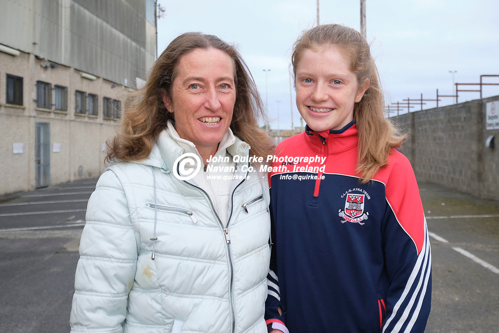 03/10/2020, IFC Final at Pairc Tailteann, Navan<br /> Trim v Ballinabrackey<br /> Trim Spectators pictured at the game, Una & Clodagh Mitchell (Clodagh sang the National Anthem before the start of the IFC Final)<br /> Photo: David Mullen / www.quirke.ie ©John Quirke Photography, Unit 17, Blackcastle Shopping Cte. Navan. Co. Meath. 046-9079044 / 087-2579454.<br /> FUJIFILM X-T3<br /> ISO: 400; Shutter: 1/250; Aperture: 5.6;