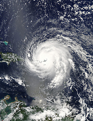 September 7, 2017 - Atlantic Ocean - Hurricane Irma is an extremely powerful tropical cyclone affecting the Leeward Islands and Puerto Rico, and threatening Cuba and the Southeastern United States. It is the strongest Atlantic hurricane since Wilma of 2005 in terms of maximum sustained winds, the most intense in terms of pressure since Dean in 2007, and the first of such intensity to make landfall anywhere in the Atlantic since Felix in 2007. Irma is also the first Category 5 hurricane to affect the northern Leeward Islands on record. (Credit Image: © NASA/via ZUMA Wire/ZUMAPRESS.com)